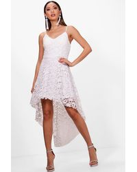 Boohoo White Boutique Lacey Lace Dip Hem Skater Dress