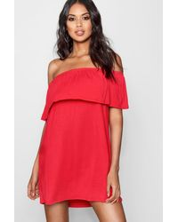 Boohoo - Red Off The Shoulder Swing Dress - Lyst