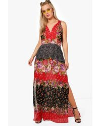 Boohoo Red Plus Mixed Print Woven Maxi Dress
