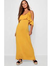 Boohoo Yellow Petite Kelly Overlay Maxi Dress