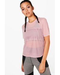 Boohoo Pink Jessica Fit Mesh Sports T-shirt