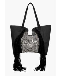 Boohoo Black Ebony Fringed & Embellished Shopper Bag