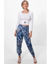 Boohoo Samira Tonal Blue Patchwork Hareem Trousers