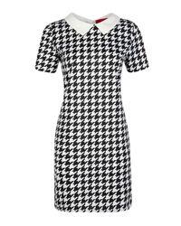 Boohoo Black Alex Dogtooth Collar Dress
