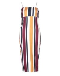 Boohoo Blue Eleanor Strip Strappy Midi Dress