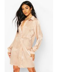 Boohoo Natural Womens Twist Front Shirt Dress