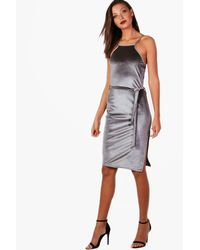 Boohoo Gray Tall Velvet Midi Dress