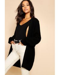 Boohoo Black Slouchy Oversized Balloon Sleeve Cardigan