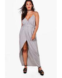 Boohoo Gray Plus Erin Jersey Plunge D-ring Maxi Dress