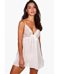 Boohoo White Tilly Lace & Bow Detail Babydoll