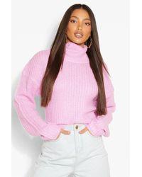 Jersey Corto Con Cuello Vuelto Tall Boohoo de color Pink