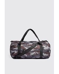 Boohoo Gray Camo Barrel Bag for men