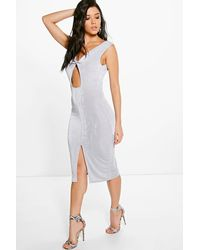 Boohoo - Gray Abbey Textured Slinky Twist Front Midi Dress - Lyst