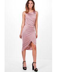 Boohoo Pink Addie Slinky Ruched Detail Midi Dress