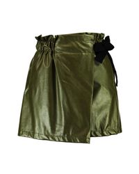 Boohoo - Green Laura Pu Wrap Over Short - Lyst
