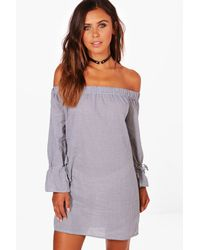 Boohoo - Blue Petite Gingham Off The Shoulder Shift Dress - Lyst
