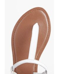 Boohoo - Brown Boutique Lara Plain Toe Thong Leather Sandal - Lyst
