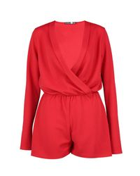 Boohoo Red Tall Wrap Front Playsuit