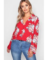 Boohoo Red Plus Floral Crop Shirt