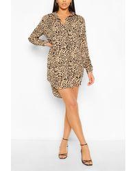 Boohoo Brown Womens Oversized T-Shirt-Kleid Mit Leopardenmuster Und Verlängertem Saum