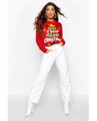 Pull Léger Clignotant Merry Christmas Boohoo en coloris Red