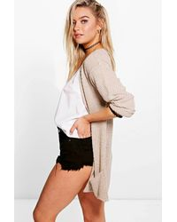 Boohoo - Red Loose Knit Slouchy Pocket Cardigan - Lyst