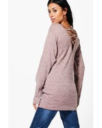 Boohoo | Pink Maternity Lauren Lounge Strappy Back Sweat Top | Lyst