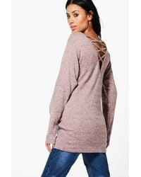 Boohoo - Pink Maternity Lauren Lounge Strappy Back Sweat Top - Lyst