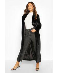 Longline Faux Fur Coat Boohoo de color Black
