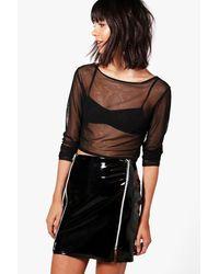 Boohoo - Black Aurora High Shine Patent Zip Front Mini Skirt - Lyst