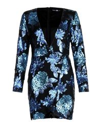 Boohoo Blue Sequin Floral Wrap Long Sleeve Bodycon Dress
