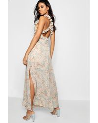 Boohoo - Natural Boutique Ruffle Cross Back Ditsy Maxi Dress - Lyst