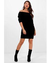 Boohoo - Black Off The Shoulder Slouchy Jumper Dress - Lyst