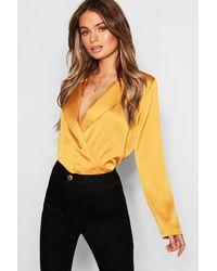 Boohoo Yellow Satin Wrap Front Blouse