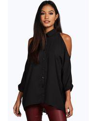 Boohoo Black Naomi Cold Shoulder Split Back Shirt