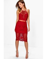 Boohoo Red Boutique Alia Lace Border Hem Midi Dress