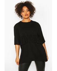 Boohoo Black Womens Plus Smok Top mit Rüschen