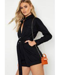 Boohoo Womens Teeny Tiny Chain Belt Bag - Orange - One Size