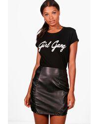Boohoo Black Carina Ruffle Front Leather Look Mini Skirt