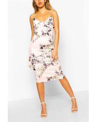 Boohoo Pink Womens Corset Floral Print Bodycon Midi Dress