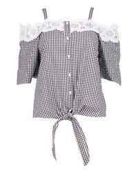 Boohoo Black Ava Gingham Crochet Cold Shoulder Blouse