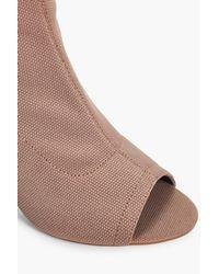 Boohoo Brown Vanessa Wide Fit Peeptoe Sock Boots