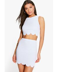 Boohoo - Blue Nataly Scallop Top & Mini Skirt Co-ord Set - Lyst
