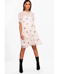 6199c868c6422 Lyst - Boohoo Maternity Embroidered Smock Dress in White