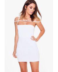 Boohoo White Freyja Strappy Off Shoulder Bodycon Dress