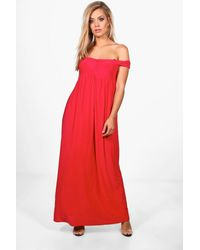 Boohoo Red Plus Off The Shoulder Slinky Maxi Dress