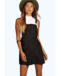 Boohoo Black Gabriella Suedette Dungaree Dress