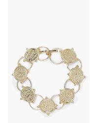Boohoo - Metallic Engraved Coin T-bar Bracelet - Lyst