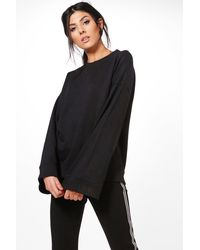 Boohoo Black Rose Extreme Oversized Drop Arm Sweater