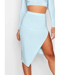 Boohoo Blue Asymmetric Hem Midi Skirt